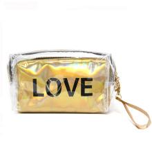 Custom Logo Waterproof Clear PVC Makeup Sets Women Cosmetic Bag With Handle