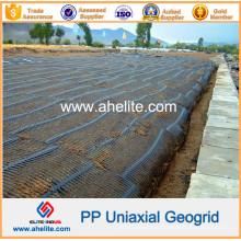 Plástico de alta resistência PP Uniaxial Geogrids 80kn / M