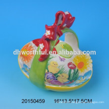 Ceramic easter storage baskets with flower figurine