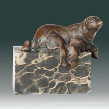 Estatua Animal Pequeño Oso Sentado Branze Escultura Tpal-275