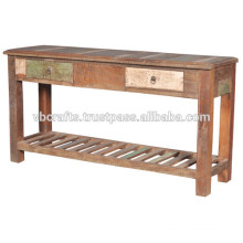 recycled wood console table