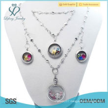 Cheap Fasion 30mm+25mm+20mm round Crystal Silver 316L stainless steel floating locket Jewelry Set