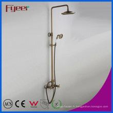 Ensemble de douche de pluie de salle de bains en laiton antique de qualité de Fyeer