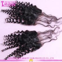 La racine foncée tisse l'armure de cheveux bouclés de mongole de 100g / pièce avec la fermeture bouclée