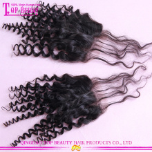 Dark root weaves 100g/piece mongolian curly hair weave with curly closure