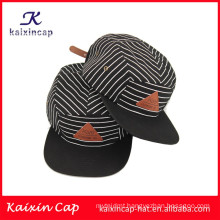 latest style&hot sell white black twill crown plain brim pattern 5 panel camper caps novelty
