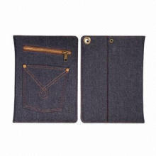 New arrival dark blue jeans case for iPad Air, with zip and pocket