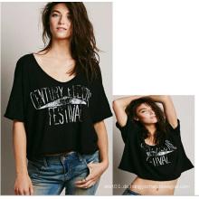 Heißer Verkaufs-neuer Entwurfs-Frauen-Oberseiten-Dame-Baumwollschwarz-T-Shirt