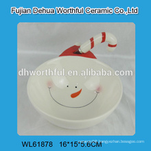 2016 lastest snowman design ceramic bowl with butter knife
