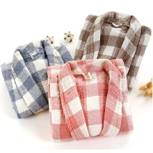 Three layers cotton gauze bath robe