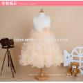 2017 nuevo diseño de alta calidad con cuentas vestido de bola vestido de la muchacha de mediana longitud de diseño hinchada torta niños vestido de la muchacha