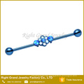 Surgical Steel PVD Blue Anodized 10 Synthetic Fire Opals Flower Industrial Barbell 38mm
