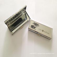 Grande boîte en métal argenté pour bijoux (BOX-30)