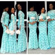 African Vestido Para Madrinha De Casamento Maid of Honor Dress Long Sleeve Mermaid Lace Bridesmaid Dresses MB996