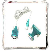 Alta qualidade USB 2.0 a 9/25 pinos Serial RS232 Cabo DB9 / DB25 Adaptador Transparente branco