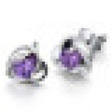 Women′s Fashion Personality Sterling Silver Heart-Shaped Amethyst Earrings