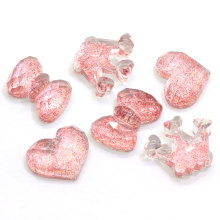 Venta caliente Resina Flat Back Glittery Cabochons Kawaii Heart Bowknot Crown Shape Glitter Slime Charms Cabs For Craft Jewelry Making
