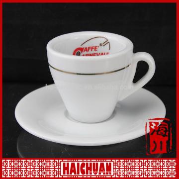 Tasse à café et soucoupe en céramique en or de 110 ml