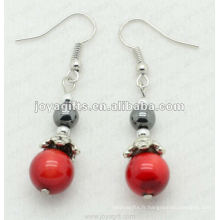 Fashion Hematite Red Coral Beads Earring