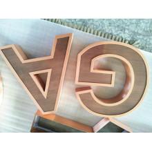 Cartas de metal de cobre 3D personalizado para pared
