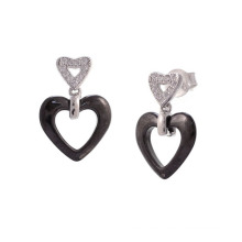 Silver and Ceramic Jewelry Earrings, 925 Sterling Silver Earrings Jewelry (E20056)