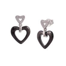 Серьги серебряные и керамические, серьги из серебра 925 пробы (E20056)