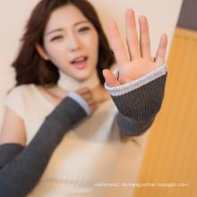 lange fingerlose Winter Damen Hand stricken weiche Wolle Handschuhe