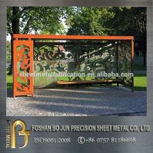 corten steel bus shelter metal fabrication