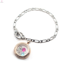 Fashion new simple design stainless steel glass floating locket chain bracelet 2018