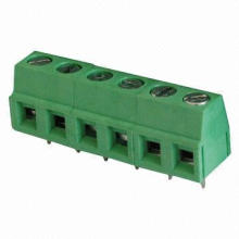 Solid block PCB terminal block, 90 degrees pin type offered, small size