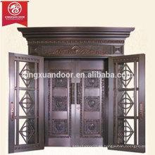 Puerta de entrada de lujo de la casa de bronce comercial o residencial, puerta de cobre revestida del doble del balanceo de la hoja