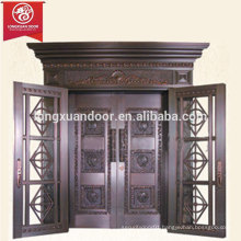 Luxury Commercial or Residential Bronze House Entry Door, Double-leaf Swing Copper Clad Door