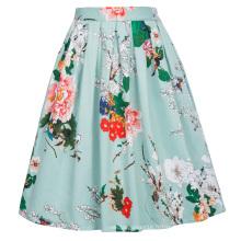 Grace Karin rétro vintage 1950 plissé imprimé en coton jupe CL6294-22