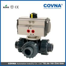 true union 3 way plastic pneumatic ball valve air actuated ball valve