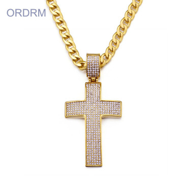 Mensguld Hip Hop Iced Out Cross Necklace