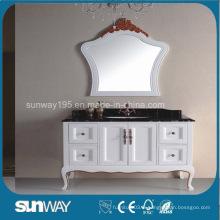 Cabinet de salle de bain antique en style européen avec dessus en marbre (SW-8014B)