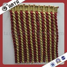 Venta al por mayor oro decorativo bucle franja Franja utilizado para accesorios de cortina, juego cortina tela cortina decorativa franja