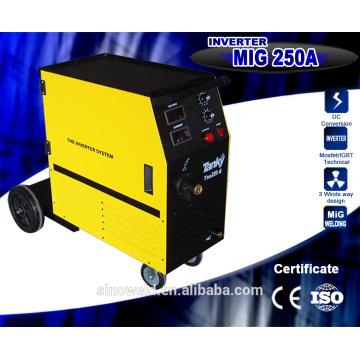 CE approuvé Alimentateur de fil de haute qualité Compacteur monophasé à gaz unique à gaz à gaz MIG Machine à souder Mig250 Onduleur à souder Machine