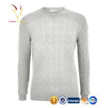 Männer Crew Neck Kabel Design Pullover reinem Kaschmir Pullover