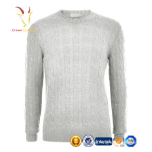 Men crew neck cable design sweater pure cashmere pullover