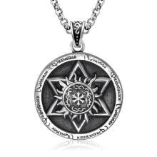 Vintage Round Necklace Pendant Titanium Steel Jewelry Men & Women