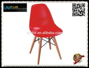 High quality cheap colored plastic chairs with wood legs