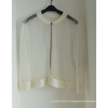 Women's Cardigan Transparent avec fermeture à glissière