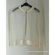 Mulheres Cardigan Transparente Knitwear com Zipper