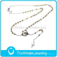 Pendiente Diseño de dos tonos Joyería Oro Plata Granos Religiosos Solapa Cruz Colgante Nuestra Señora de África Virgen María Rosario Collar