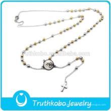 Durou Dois Tons de Design de Jóias de Prata de Ouro Beads Religiosos Lapela Cruz Pingente Nossa Senhora da África Virgem Maria Rosário Colar
