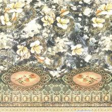 Tissu en soie de mousseline de soie d'impression numérique (XF-0067)