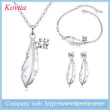 2016 cz bridal ожерелье перо очарование ювелирные изделия кулон новые продукты на рынке ювелирных изделий Китай набор