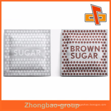 Three side sealed laminated plastic small brown sugar packet packaging
