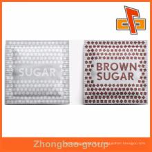 Três lados selados plástico laminado pequeno pacote de embalagens de açúcar mascavo